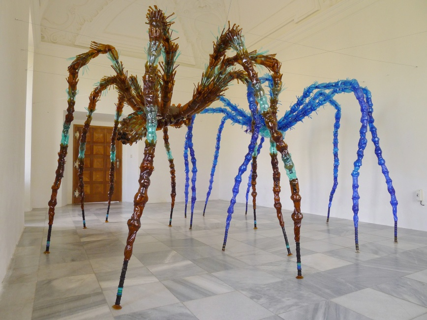 Veronika Richterova - spiders made from plastic bottles