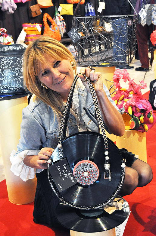 Vinyl handbag created by French artist Corinne Reinsch - Copyright photo : Thierry Production